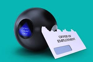 magic 8 ball and envelope representing employment contingent on background check