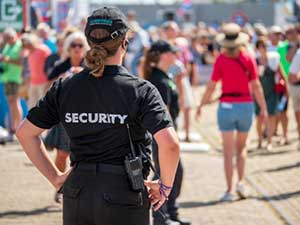 Event security officer scanning the crowd