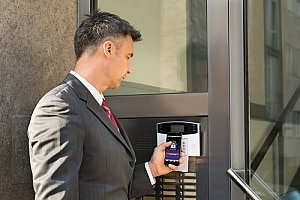 a business owner in Las Vegas, NV using a business alarm system