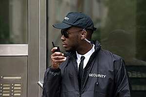 an emergency security guard responding to a call