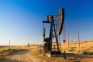 an oil pump that is being protected from trespassers