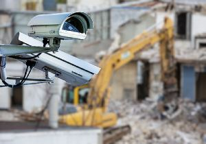 surveillance system with construction site on the background