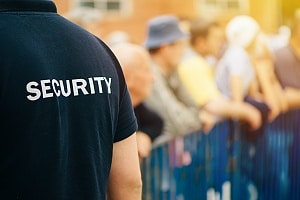 zoomed in view of an event security officer protecting an event in chico city ca