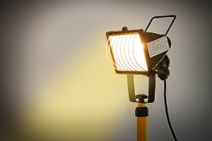 Halogen lamp on a construction site. Construction site security services can deter thieves