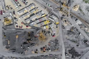 birds eye view of a Construction Site Security