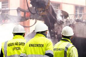 Officers working in construction site. On-site security officers are highly effective on construction sites