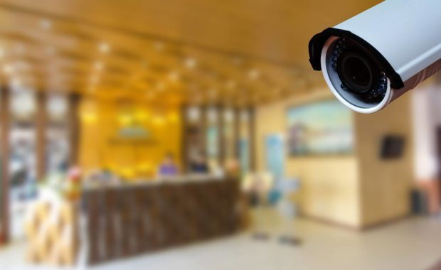Security camera in hotel lobby to provide safety and security to guests