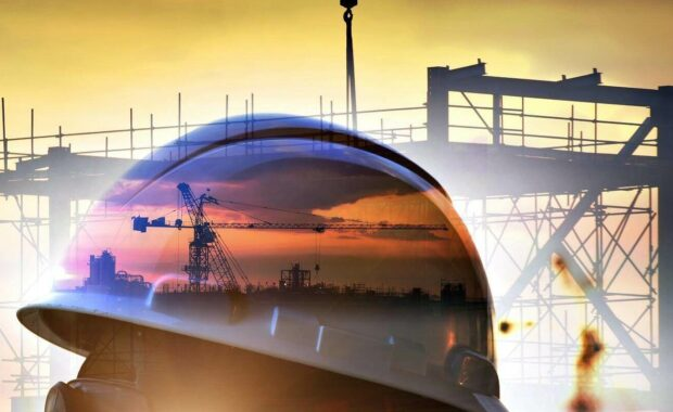 double exposure of Standard construction safety and construction site background
