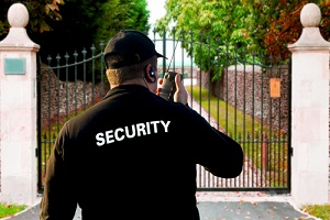 security guard outside home