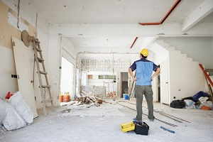 rear view of Asian construction worker looking away
