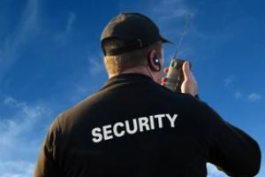 security office taking on radio